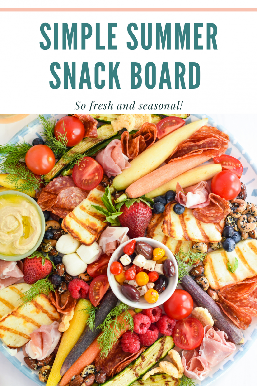 Snack Board with fruits, veggies, and dips.