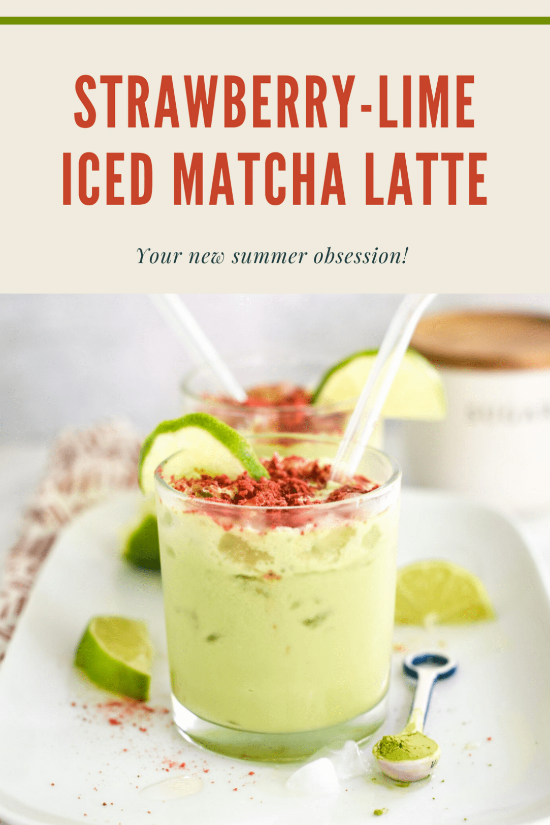 Iced Chai Latte when crushed freeze-dried strawberries on top