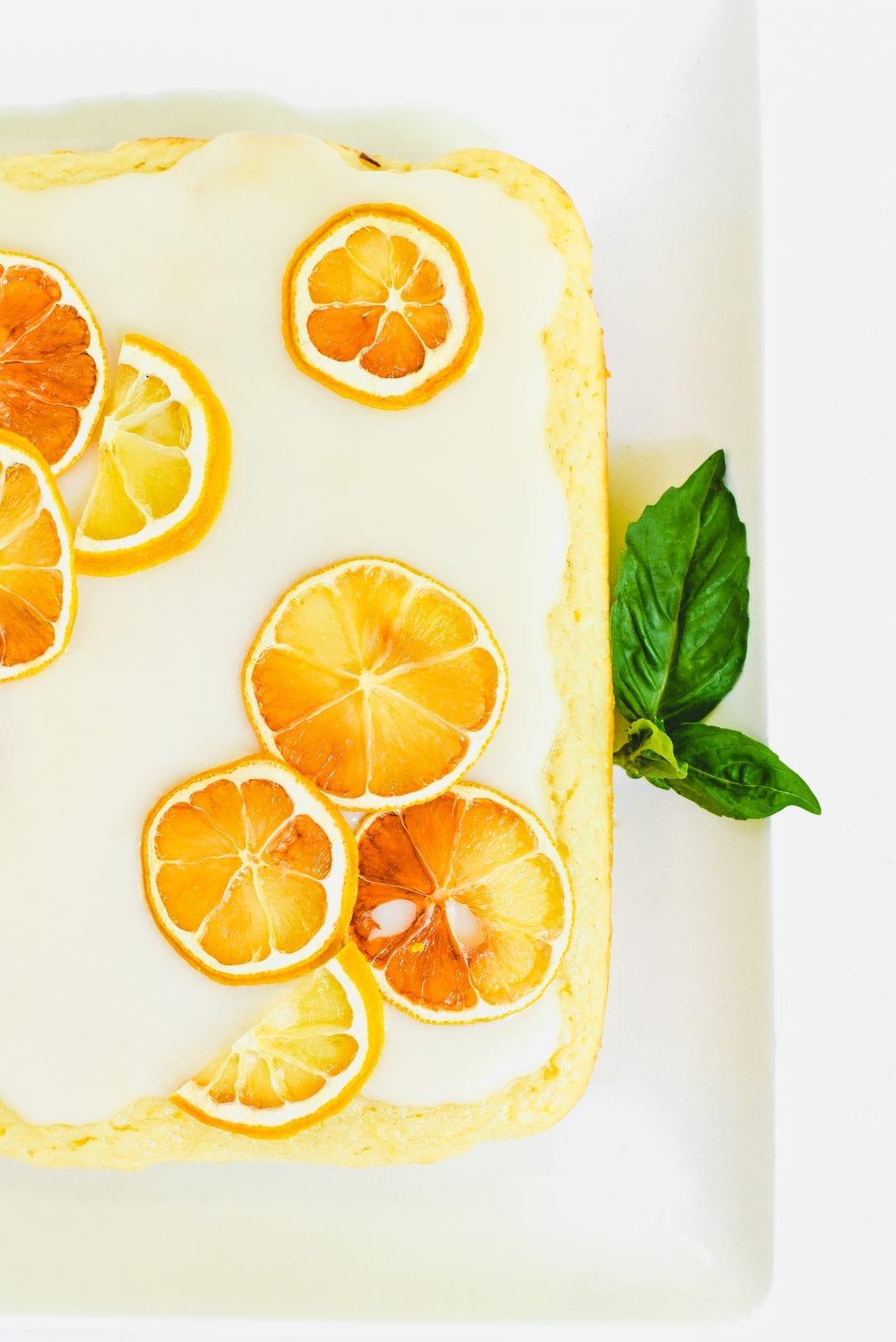 Lemon Snacking Cake with Basil Glaze