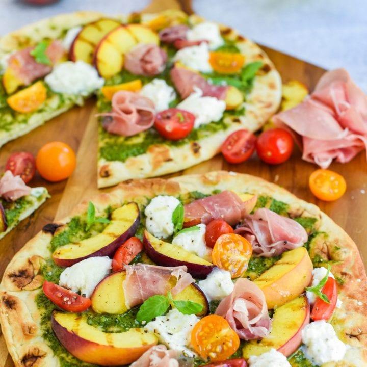 Grilled Peach and Prosciutto Flatbreads