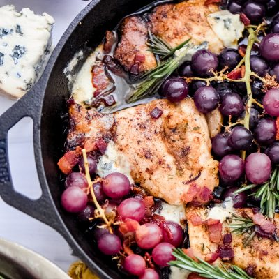 Skillet-Braised Thighs with Grapes and Blue Cheese