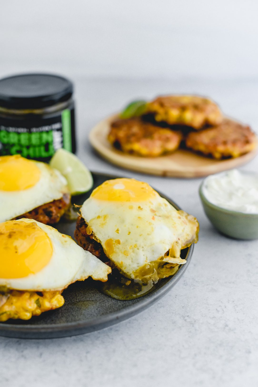 corn fritter with egg on top