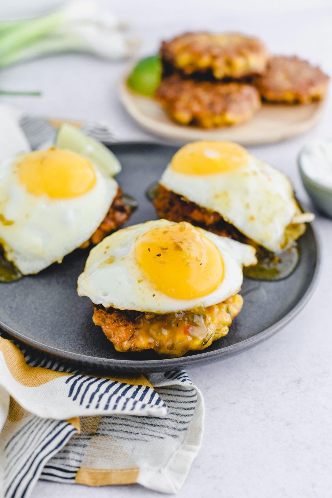 Corn Fritter, Chorizo, and Egg Stacks with Green Chili Jam