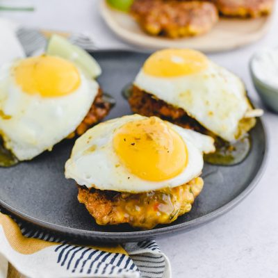 Corn Fritter, Chorizo, and Egg Stacks with Green Chili Jam