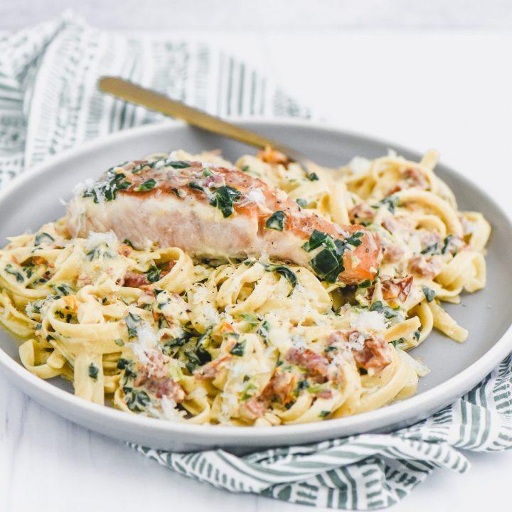 Tuscan Salmon Fettuccini Alfredo