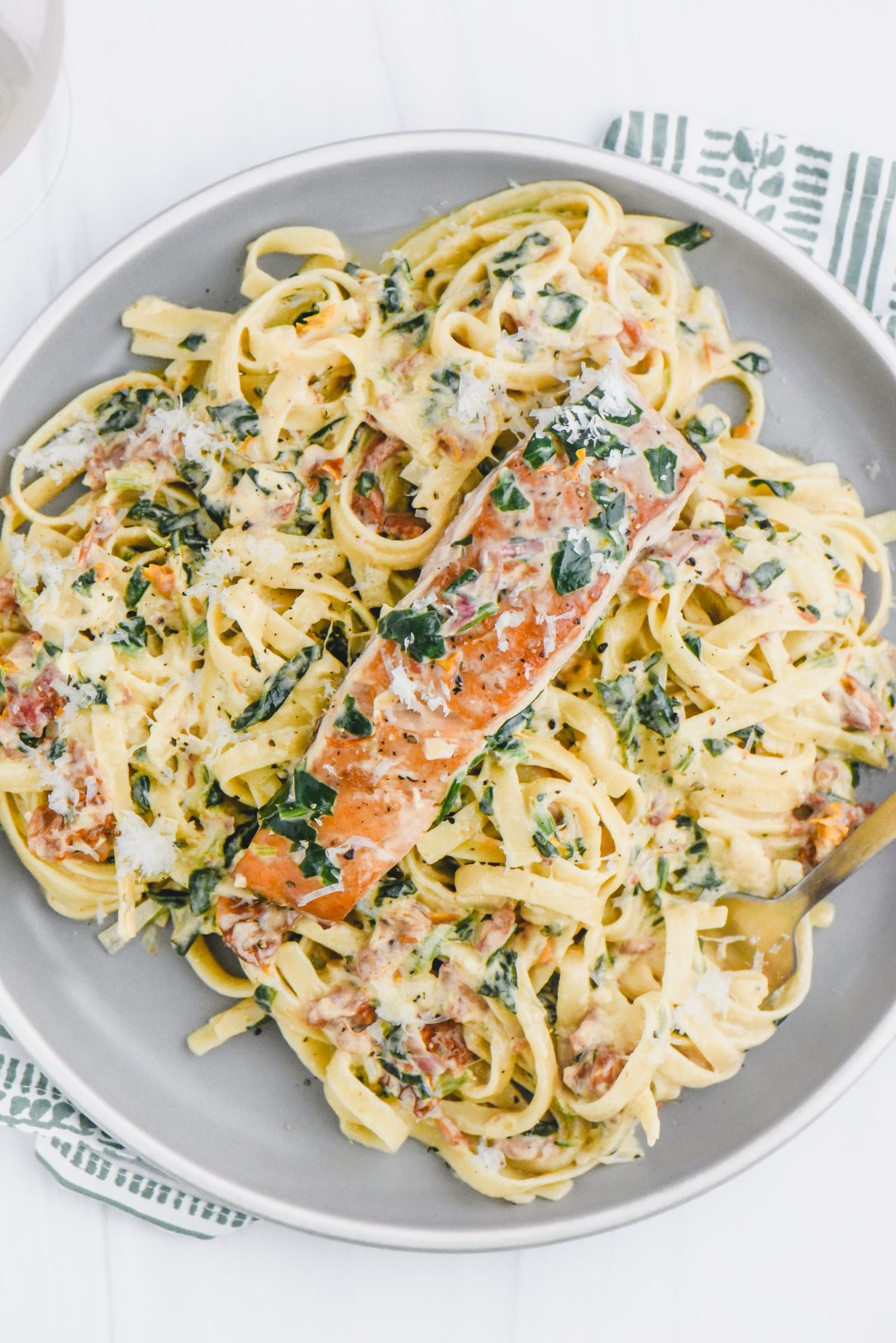 Tuscan Salmon Fettuccine Alfredo