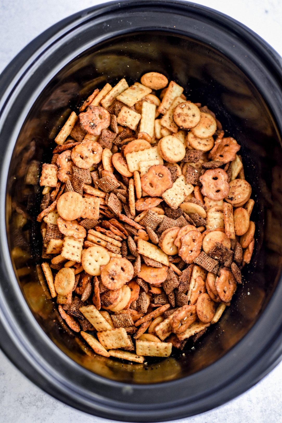 Snack mix in crock pot