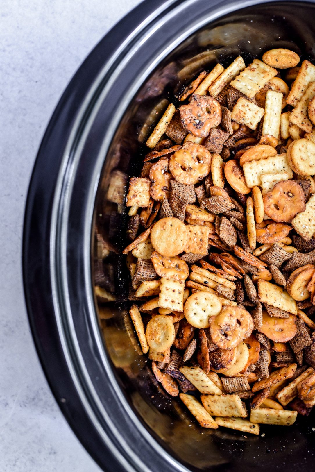 Snack mix in a crock pot