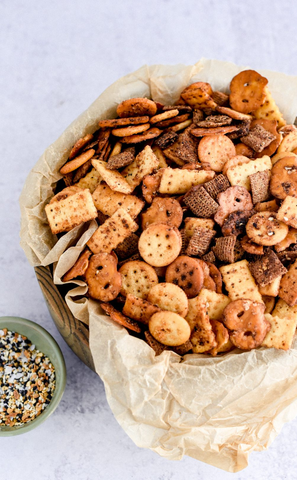 snack mix in serving bowl