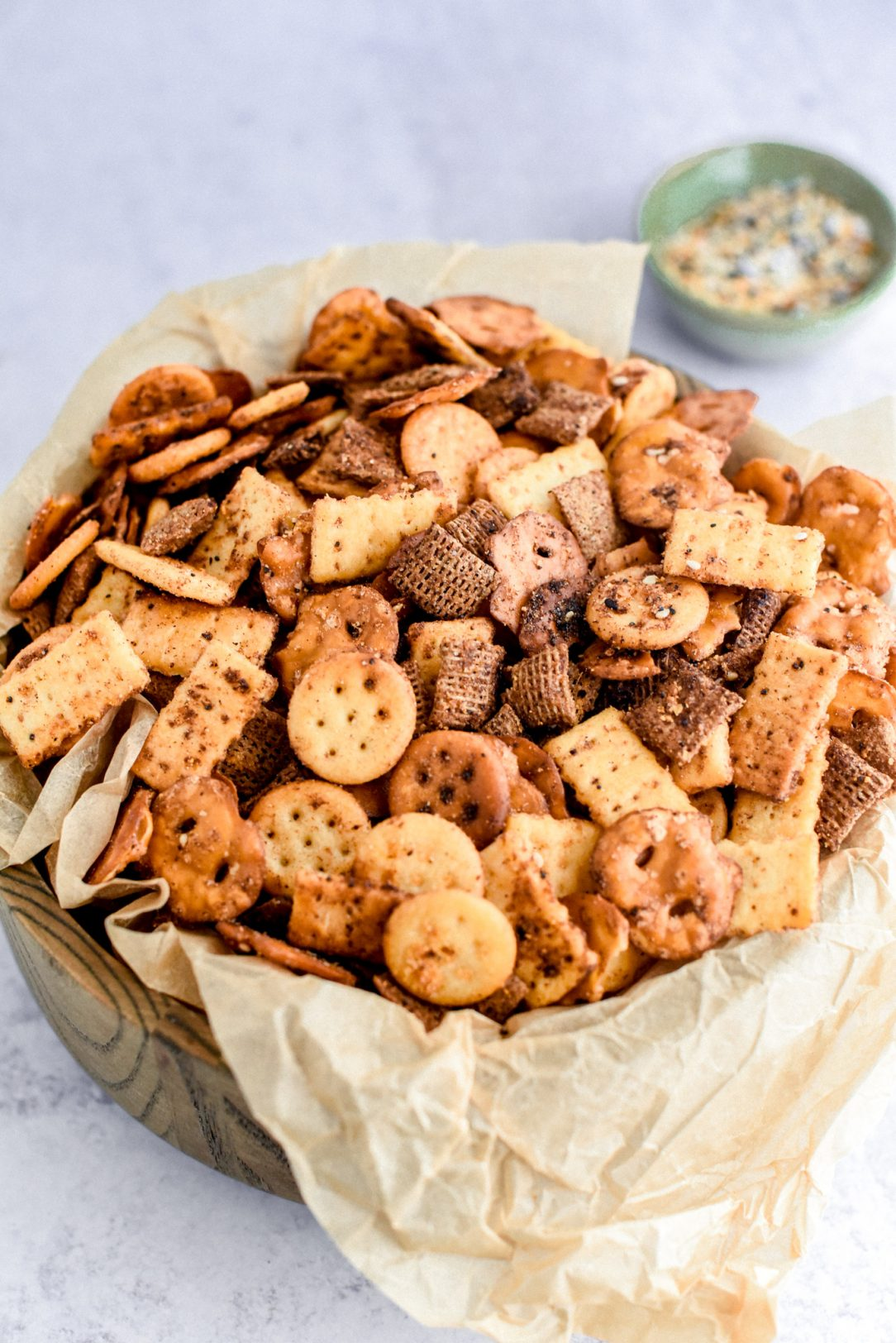 Snack mix in a serving bowl