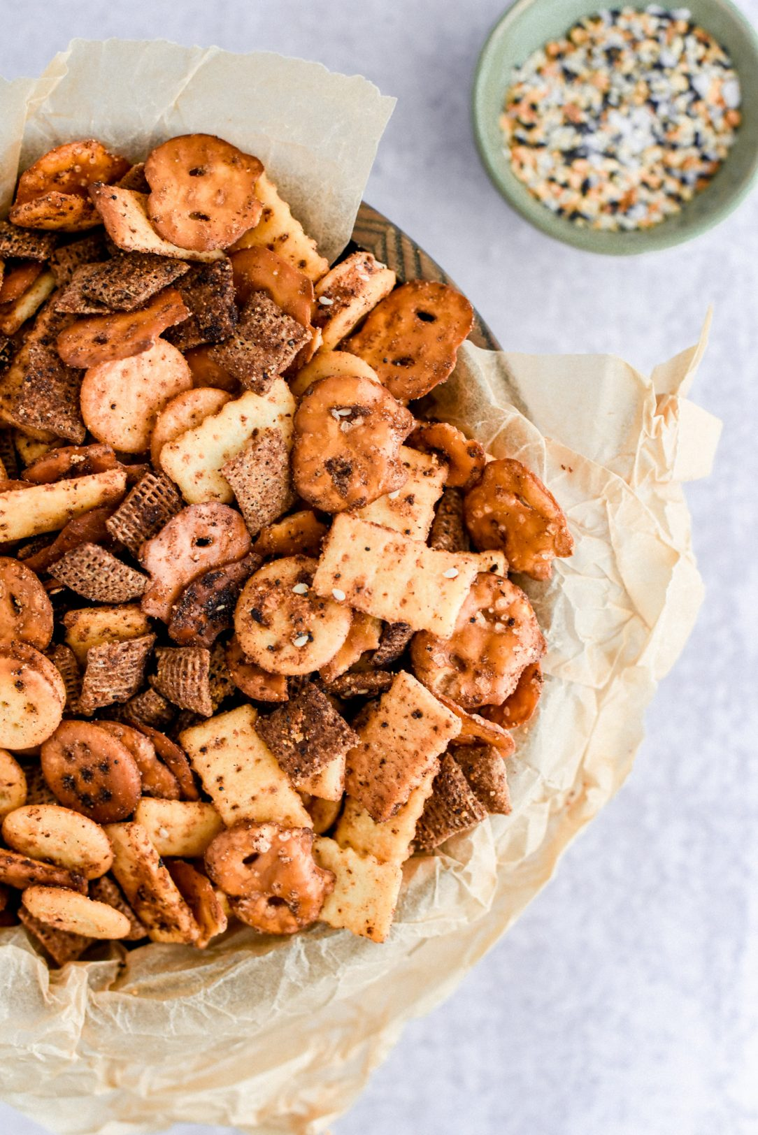 close up of snack mix in serving bowl