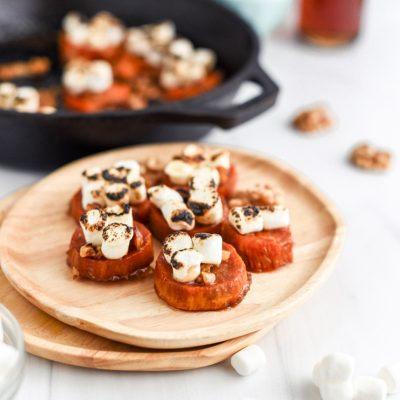 Candied Melting Sweet Potatoes with Marshmallow and Walnuts