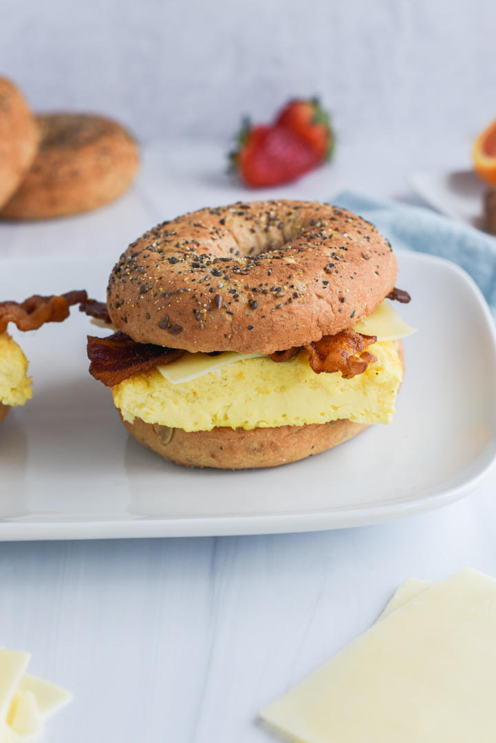 sheet pan egg on a bagel with bacon and cheese