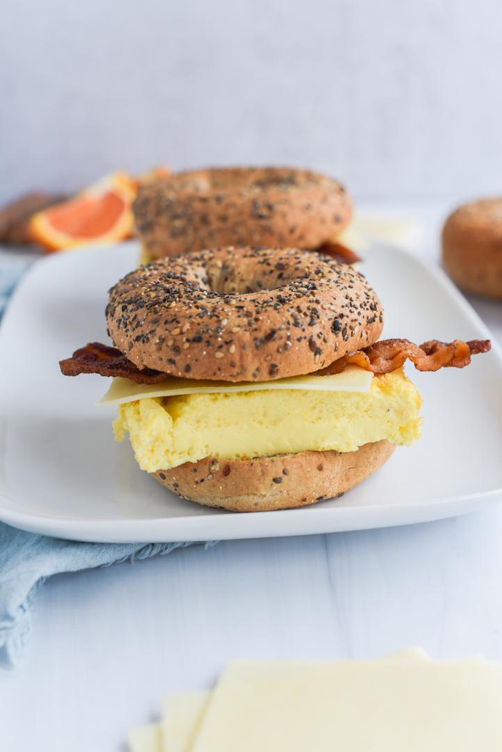 bagel egg sandwich on a serving platter