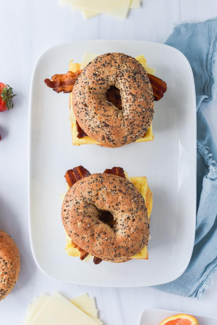bagel egg sandwiches on a serving platter