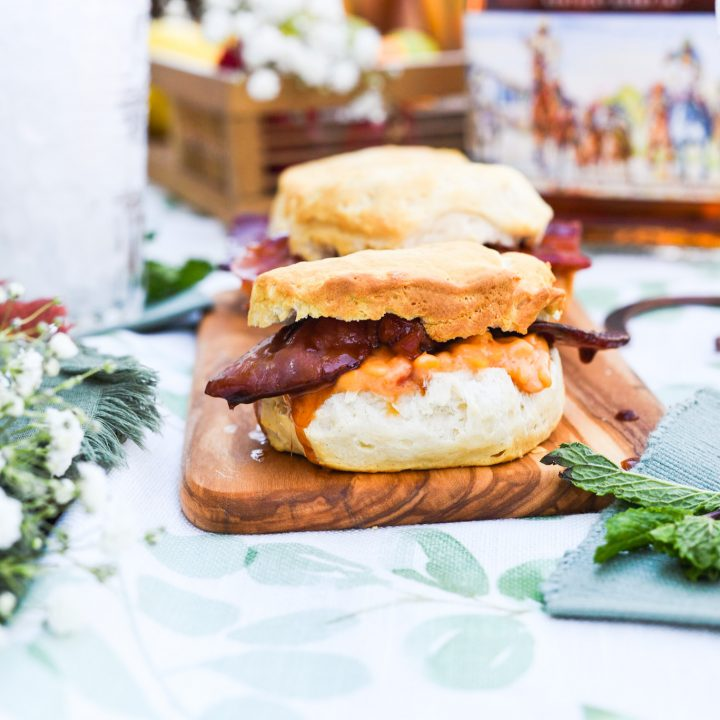 Maple-Bourbon Glazed Country Ham and Pimento Cheese Biscuits